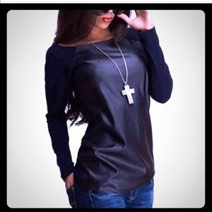 Stylish cotton and faux leather tee